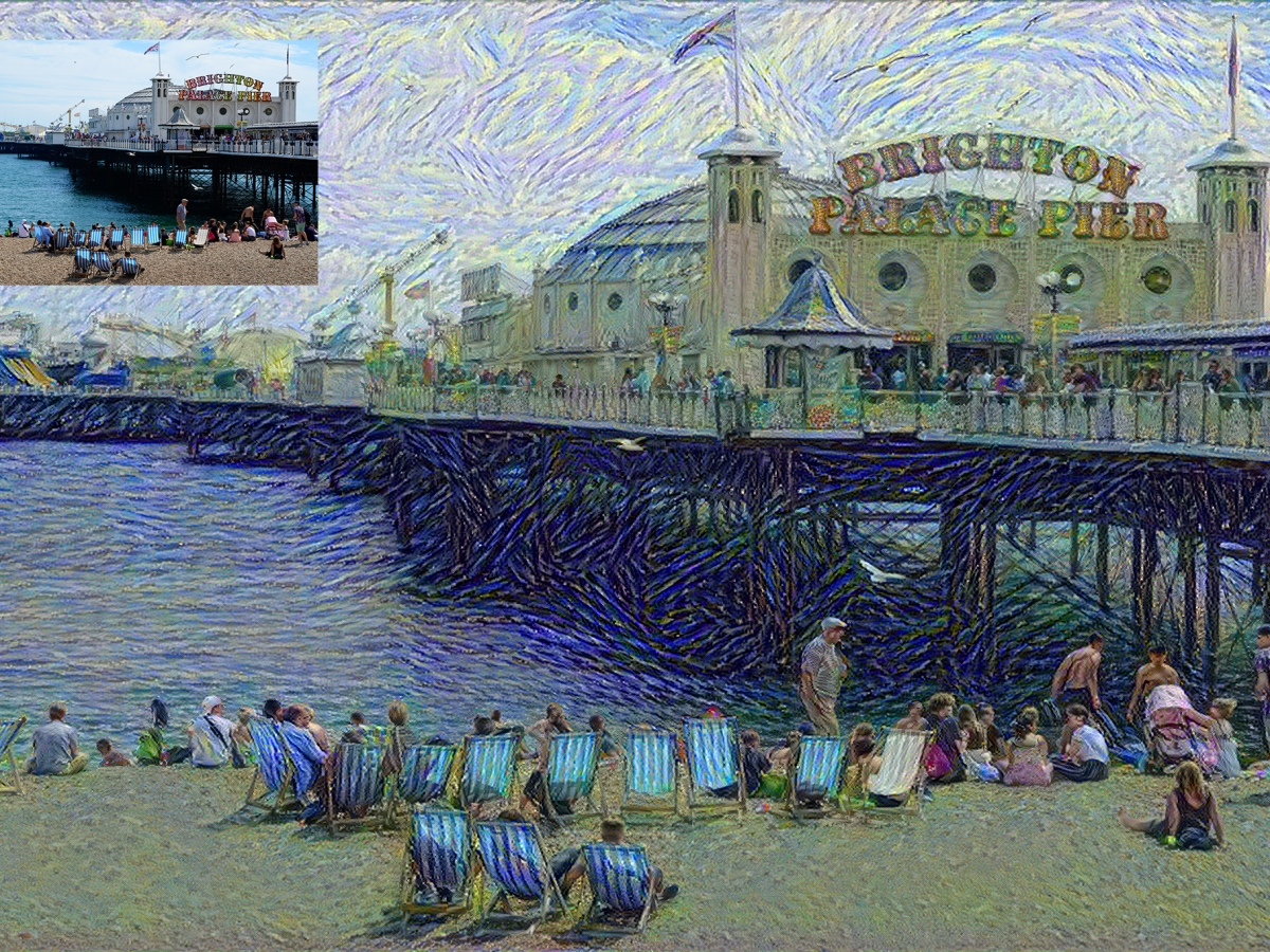 Brighton Palace Pier 'painted' by Vincent Van Gogh using Neural Style Transfer